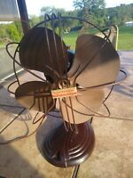 """RARE Vintage Brown Westinghouse Pacemaker 10"""" Single Speed Oscillating Fan Deco"""