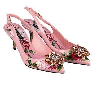 DOLCE & GABBANA Crystals Slingback Heels Pumps BELLUCCI Peony Print Pink 09646