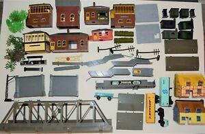 Large job lot OO gauge Triang station buildings, huts, bridge, signal boxes etc