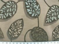 "Plantain Blue Hawaii Fabric Chenille Upholstery 54"" Wide By The Yard / Leafs"