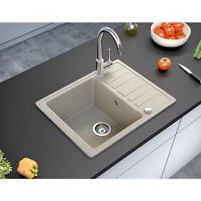 BERGSTROEM Évier de cuisine en granit encastré réversible 575x460 beige