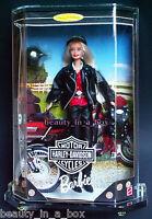 Harley Davidson #1 Barbie Doll in Acrylic Case Blonde Biker 1996 1997