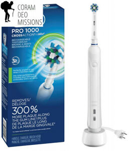 Electric Rechargeable Power Toothbrush Powere 3 Brushing Modes Dual clean White