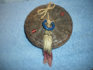 VINTAGE CHINESE HAND WOVEN SEWING BASKET W/LID, TASSELS, BEADS AND COIN