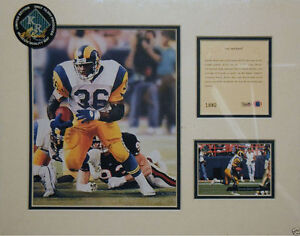 """1994 litho print of Jerome Bettis of the NFL, LA Rams, approx. 11"""" x 14"""" mat"""