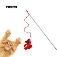 100x Pet Cat Kitten Teaser Red Fish Interactive Fun Toy Wire Chaser Wand Stick