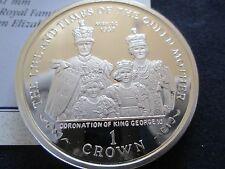 2000 Île de MAN ARGENT REPRODUCTION UN PIÈCE DE COURONNE couronnement de george
