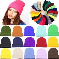 Winter Unisex Cuff Knit Beanie Ski Hat Warm Solid Slouchy Hip-Hop Skull Cap-RO