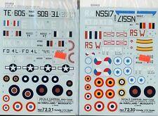 Carpena 1/72 Decal Sets: 2 de Havilland Mosquito Decal Sets MPN #s 72.30 & 72.31
