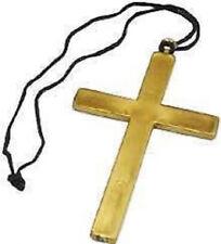 LARGE GOLD FANCY DRESS CROSS PRIEST VICAR CLERGY NUN MONK COSTUME ACCESSORY