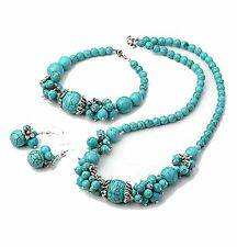 Turquoise Gemstone Silver Charms Necklace, Bracelet and Earrings Jewellery Set