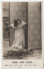 BAMFORTH #279 - Hide & Seek - Little Girl - Real Photo - 1906 used postcard