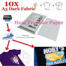 10 Sheets T-Shirt A3 Iron On Inkjet Heat Printer Transfer Paper For Dark Fabric