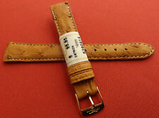 ZRC Made in France Honey GENUINE Ostrich 14mm Watch Band Gold Tone Buckle $95.95