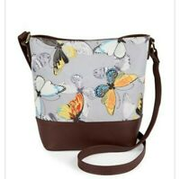 Bueno Womens Shoulder Bag Gray Brown Butterfly Tote Snap Adjustable Strap New