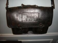 Vintage Hand Made Tooled Leather Satchel Laptop Computer Bag Briefcase Homestead