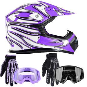 New Youth Purple Motocross Kids Helmet w/ Black or Purple Gloves Goggles DOT ATV