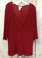 Coldwater Creek (Sz XL) Valentine Red Crossover Travel Knit Tunic Women's Top