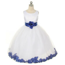 WHITE Flower Girl Dress Petals Wedding Bridesmaid Recital Formal Birthday Party