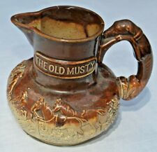 """The Old Musty"" English Salt Glazed Stoneware Hunting Scene Jug Pitcher c.1840"