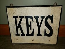 Wood Wall Hanging Distressed Style Keys Hanging Organizer Eye Hook Mounts 10x8