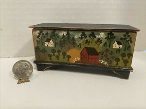 Vintage Artisan BBE Colonial Wood Blanket Chest Dollhouse Miniature 1:12