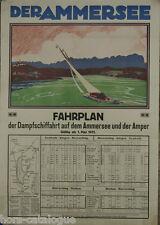 Affiche originale, Der Ammersee. Fahrplan. Par Otto Loudw. Naegele. Régate lac.
