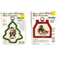 Bucilla Counted Cross Stitch Keepsakes Christmas Ornament Lot Of 2 Mini Vtg New