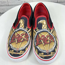 Vans X Slayer Slip-On Size 9 Skate Sneakers Shoes Black and Red