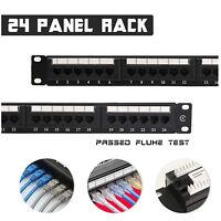 24 Port CAT6 Unshielded Network Lan Patch Panel Cable Frame Distribution Rack AU