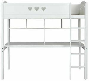 Home Mia High Sleeper Bed Frame, Desk & Shelves - White