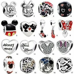 Micky Minnie 925 silver charms dangle pendant bead For bracelet bangle chain