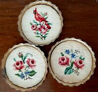 Antique Coaster Set Needlepoint - Floral with Bird - Set of 3 - Pierced Brass