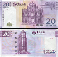 MACAO BILLETE 20 PATACAS. 08.08.2008 (2009) LUJO. Cat# P.109a