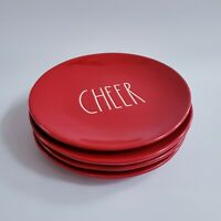 NEW set of 4 Rae Dunn Red CHEER  8 inch Salad Dessert Plates Christmas Red LL