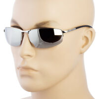 MEN Sunglasses Sport Style Metal Frame Black Silver Mirror Lens with Dark Lens