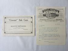 1912 Booth's Motories Coronet Sidecar Motorcycle Sidecar Brochure & Letterhead