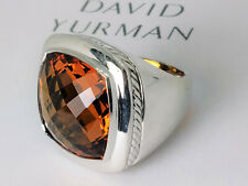 David Yurman Sterling Silver Albion Ring with 20mm Citrine, size 6.5