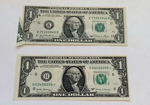 2 $ 1 paper money error notes 1981 Fold Over.    2017 Miss Cut Star Note