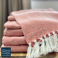 Luxury ECO Friendly Cotton Herringbone Throw Burnt Orange Bed Sofa Blanket