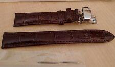Marrón cuero reloj correa hebilla de plata de acero inoxidable cierre de mariposa 18mm