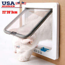 White 4-Way Medium Pet Cat Kitten Small Lockable Safe Flap Door Us Stock