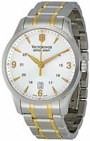 NEW VICTORINOX SWISS ARMY MEN'S GOLD TWO TONE SILVER DIAL STAINLESS WATCH 241477