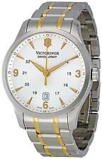 NEW VICTORINOX SWISS ARMY MEN'S TWO TONE STAINLESS STEEL WHITE DIAL WATCH 241477