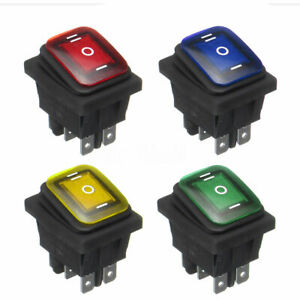 1x On-Off-On 12V 6-Pin LED Light Car Rocker Toggle Switch Latching Accessories