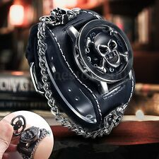 Fashion Men Women Punk Rock Chain Skull Leather Bracelet Gothic Wrist Watch Gift