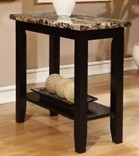 Rectangular Black Faux Marble Top Chair Side Table End Table