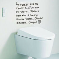 Toilet Rules Home Decal Art Removable Wall Sticker Bathroom Restroom Decor US