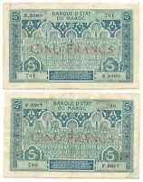 Morocco Maroc 2 Banknotes Lot 5 Francs 1924 P9 French Rule Franc