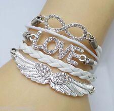 Unisex Womens Mens Fashion Heart Rhinestone Weave Bracelet With Wing 23.5cm e7be3dba5448